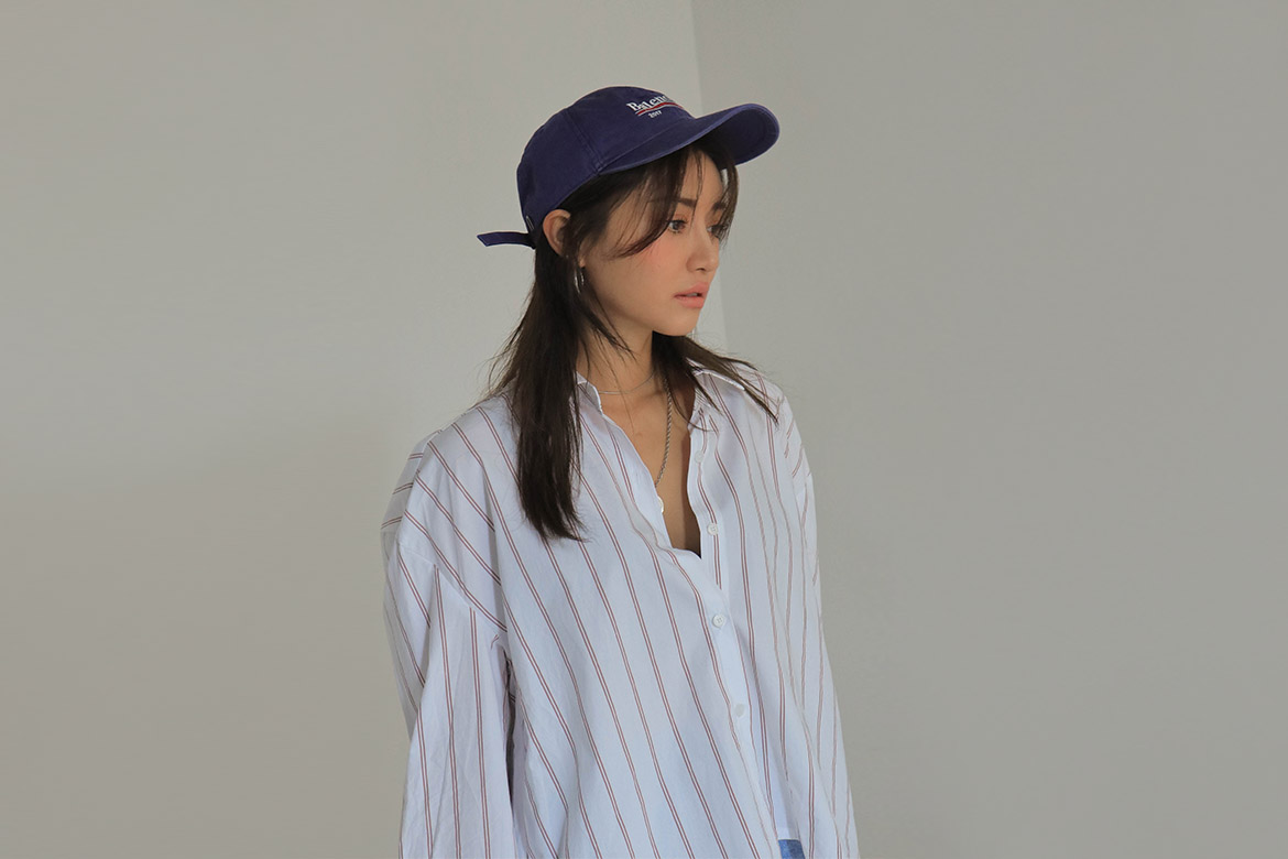 unbalance wide stripe shirt