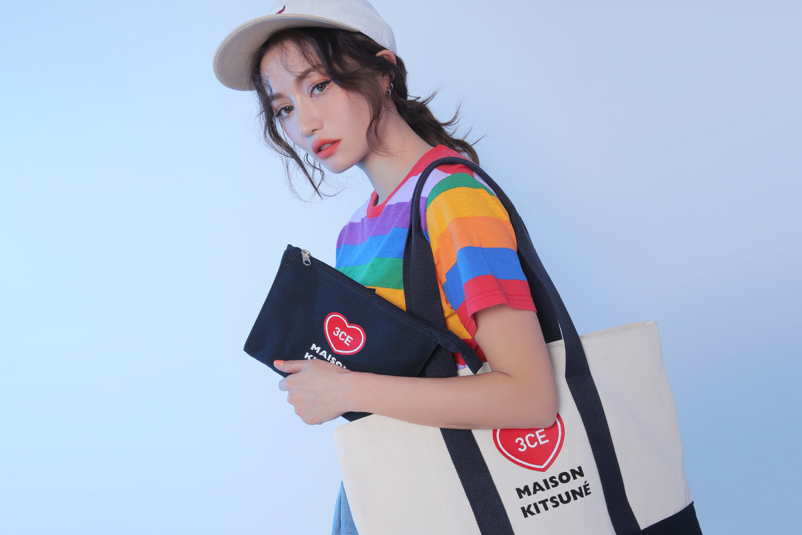3CE MAISON KITSUNE CANVAS TOTE BAG